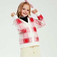 【2件3折到手�r:115】小�i班�{童�b女童�_衫毛衣�和�格子V�I��衫冬季新款中大童毛衫