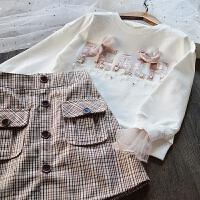 韩国童装女童长袖T恤套装2018春装儿童韩版卫衣+短裙两件套裙套装