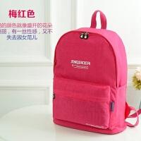尼龙女包双肩包 韩版休闲学院风书包大号旅行背包 牛津帆布大包包 玫红色