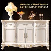 欧式餐边柜大理石酒柜雕花实木碗柜法式橱柜餐厅储物柜茶水柜 4门