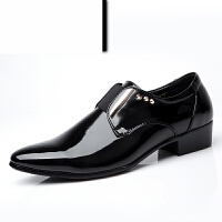 男士商务正装皮鞋潮流婚鞋男鞋新郎鞋漆皮皮鞋英伦尖头系带单鞋休闲皮鞋男