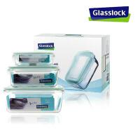 三光云彩 韩国钢化玻璃扣 可微波炉装玻璃保鲜盒 礼品套装3件套GL06-3BC便当盒