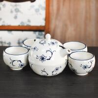 红兔子 中国风釉下彩青花瓷功夫茶具五件套装