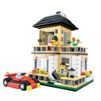 万格拼插积木别墅房子建筑模型DIY小颗粒
