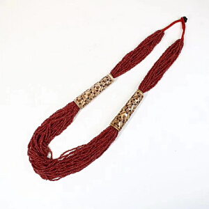 旧藏红琉璃珠加纯手工雕刻骨头项链一条