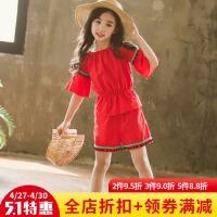 女童韩版夏装民族风短袖上衣 短裤 两件套中大童时尚洋气童装套装