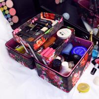 印花化妆包韩国大容量便携手提化妆箱专业多层化妆品护肤品收纳箱