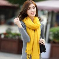 精薄纯羊毛围巾女 韩版纯色保暖围脖空调披肩姜黄