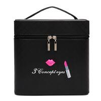 大容量化妆包可爱双层手提化妆箱大号护肤化妆品多层收纳盒小方包