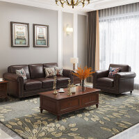 美式真皮沙发头层牛皮皮沙发客厅家具复古棕色油蜡皮沙发 意大利头层牛皮油蜡皮