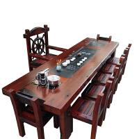 老船木茶桌新中式实木家具船木功夫茶台阳台小茶几休闲茶桌椅组合 整装