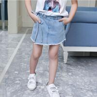夏季牛仔短裤儿童假两件裙裤蝴蝶结系带毛边牛仔裙浅色牛仔裤女童