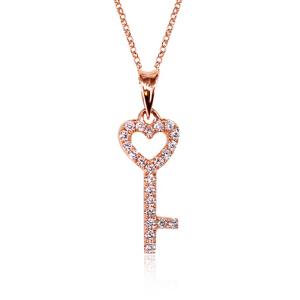 梦 梵雅 钻石项链 18K金镶钻幸福之钥吊坠