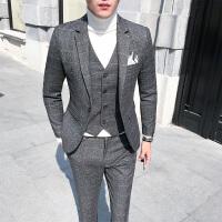 新伴郎结婚礼服韩版格子西服套装男士三件套修身商务正装大码西装