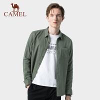 骆驼男装衬衫2019秋季新款商务休闲衬衣纯色衣服外套男士长袖衬衫