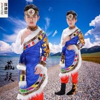 儿童藏族舞蹈演出服少数民族男童西藏表演服饰蒙古