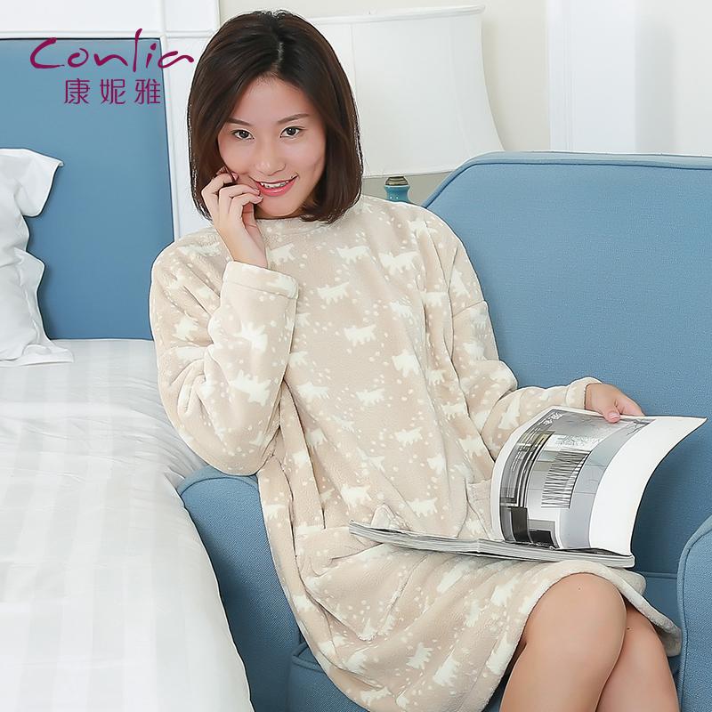 【便服】康妮雅珊瑚绒睡裙 女士秋冬长袖加厚卡通可爱居家宽松睡裙