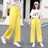 新款夏季韩版显瘦糖果色系带阔腿裤女