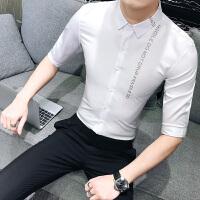 男士七分袖纯色衬衫潮韩版修身白衬衣青年休闲发型师寸衣