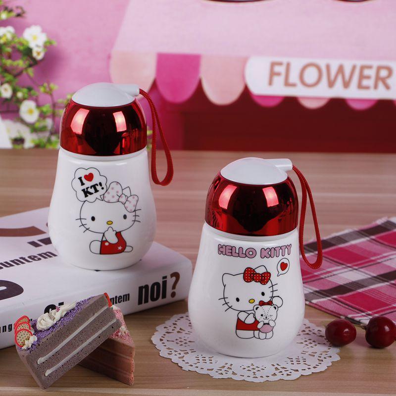 陶瓷杯带盖可爱卡通马克杯hello kitty杯子儿童便捷水杯凯蒂猫
