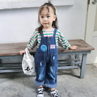 新款夏装2018小童装牛仔裤儿童背带裤宝宝破洞裤子夏款百搭款0-6