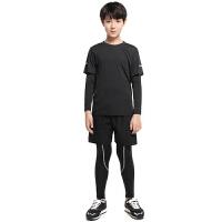 儿童紧身衣套装男运动弹力健身服篮球足球训练打底速干长袖四件套 Q