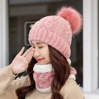 韩版加绒保暖针织帽子女 护耳围脖一体百搭毛线帽 新款加厚骑车潮帽子