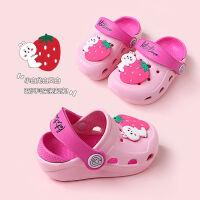 宝宝拖鞋夏1-2岁3可爱女童婴幼儿童洞洞鞋室内软底防滑男童凉拖鞋