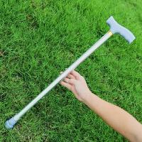 可伸缩登山拐杖超轻 铝合金拐杖伸缩手杖老人拐�E登山杖多功能可调节超轻便拐棍助行器 银色 配两个防滑脚垫