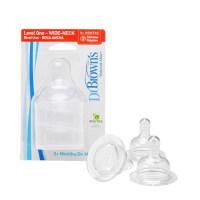 布朗博士婴儿奶瓶配件 硅胶宽口奶嘴1段/2段/3段/Y段(3只装)