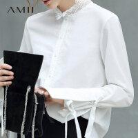 【会员节! 每满100减50】Amii极简设计感欧洲站蕾丝拼接衬衫2018秋新可拆式喇叭袖绑带上衣