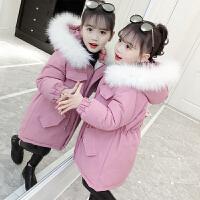 女童棉衣秋冬洋气女孩潮衣中长款棉袄儿童加厚保暖潮