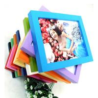 普润 木质礼品相框 平板实木相框 照片墙 6寸挂墙红色