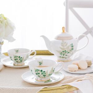 奇居良品 下午茶陶瓷茶具咖啡杯碟套装 茜可绿叶骨瓷茶壶咖啡杯碟