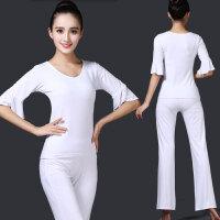 新款春夏运动休闲白色瑜伽服套装中长袖健身房显瘦速干跑步舞蹈服
