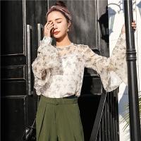 七格格雪纺衫女春装新款韩版学生百搭宽松甜美长袖衬衫碎花圆领上衣