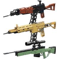 启蒙积木兼容乐高玩具沙漠之鹰小颗粒AK47狙击枪拼插模型儿童吃鸡枪玩具