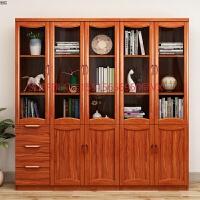 实木书柜书架带玻璃门书房客厅全实木新中式二门三门四门五门书橱 1-1.2米宽