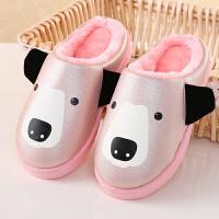 冬季卡通男女童居家防滑室内保暖防水宝宝子包跟棉拖鞋