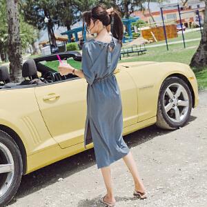 RANJU 然聚2018女装夏季新品新款冷淡风极简连衣裙女ins超火的裙子温柔风显瘦收腰长裙