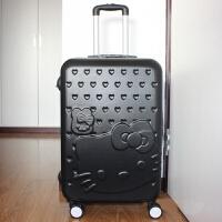 卡通行李箱女拉杆箱万向轮旅行箱20寸22寸24寸26密码箱儿童皮箱包 黑色 拉杆箱单只