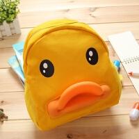 个性宝宝婴儿帆布卡通小黄鸭0-2-5岁幼儿园儿童书包定制印字LOGO