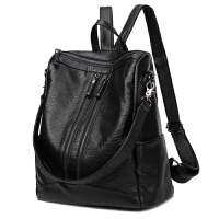 女款双肩包韩版新款潮时尚百搭旅行包软皮妈咪包两用休闲背包 黑色 水洗皮现货