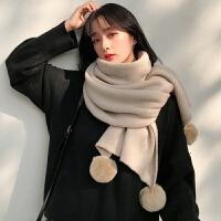 时尚新款围巾女冬季韩版百搭秋冬可爱学生白色针织粗毛线冬天少女围脖