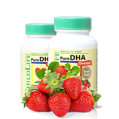 美国直邮  ChildLife童年时光 DHA天然脑黄金软胶囊天然浆果味 90片*2瓶 海外购 天然浆果味,宝宝超喜欢