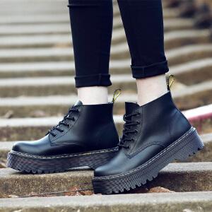 ZHR秋冬真皮马丁靴女高帮短靴英伦风冬靴粗跟女靴子厚底学生女鞋B18