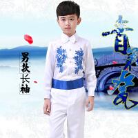 新款六一儿童合唱服青花瓷舞蹈服装诗朗诵演出服古筝裙子表演服