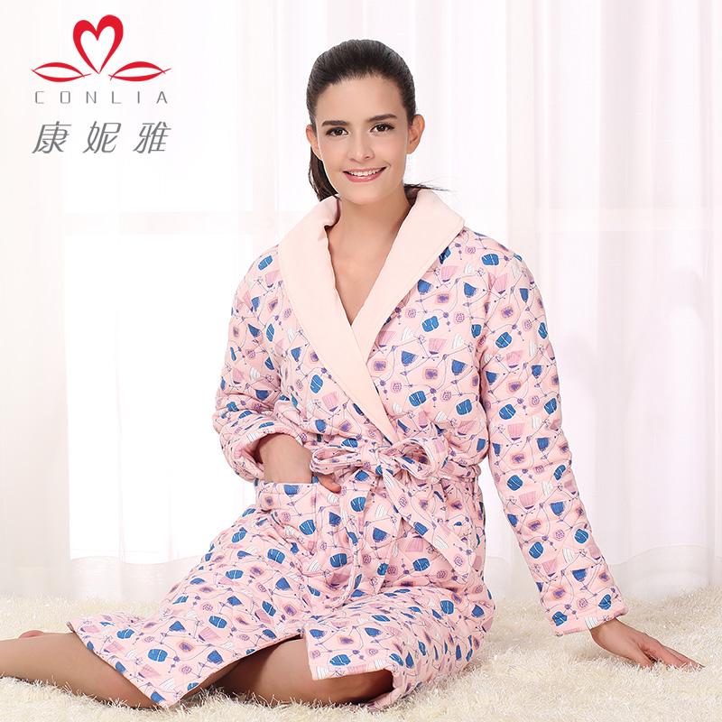 康妮雅冬季新款家居服 女士中长款长袖翻领厚装睡袍先领卷后购物 满399减50
