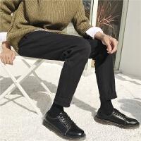 韩版秋季男士九分休闲裤学生潮流修身小脚西装裤男色长裤子