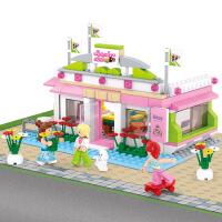 【品牌授权】小鲁班新粉色梦想小镇女孩系列儿童益智拼装积木玩具 台球俱乐部M38-B0527